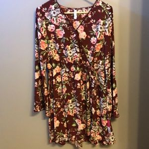 Fall Floral Faux Wrap Dress